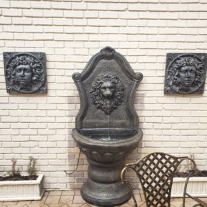 Lion Wall Fountain In Bronze Finish With 2 Medusa Plaques