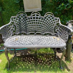 Cast Aluminum Webbed Bench