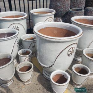 White Anduze Glazed Pots