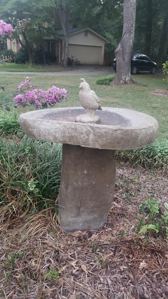 Stone Birdbath with Bird