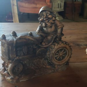 Gnome On Tractor in Weathered Copper